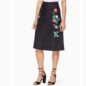 kate spade new york embellished denim skirt